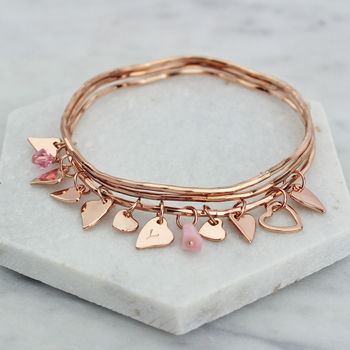 rose gold personalised heart swarovski crystal stacking bangles
