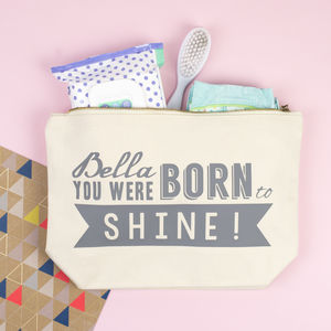'Born To Shine' Personalised Nappy Changing Pouch