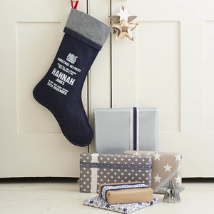 Personalised Denim Christmas Stocking - the best christmas yet