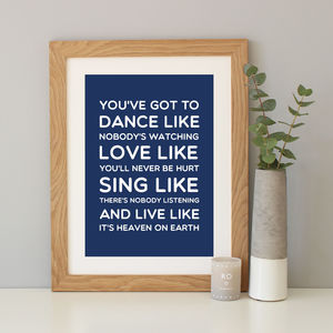 'Dance Like' Inspirational Quote Print