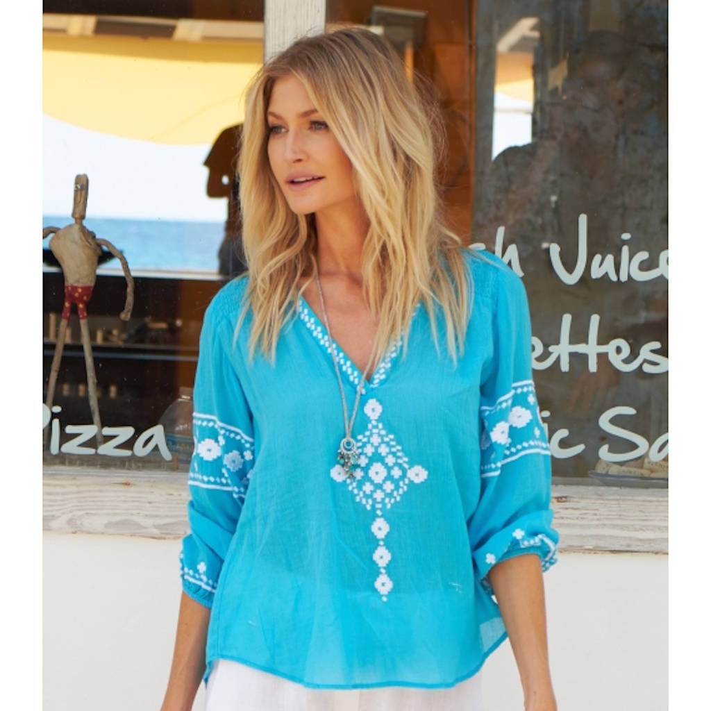 Meenu Embroidered Cotton Blouse Turquoise/White