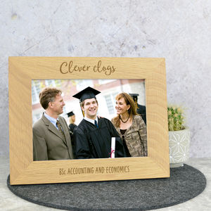 Clever Clogs Graduate Solid Oak Photo Frame