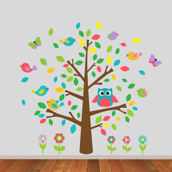 Owl And Birds Tree Scene Wall Sticker