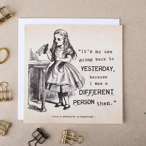 Alice In Wonderland Greetings Card 'Yesterday' - alice in wonderland gifts
