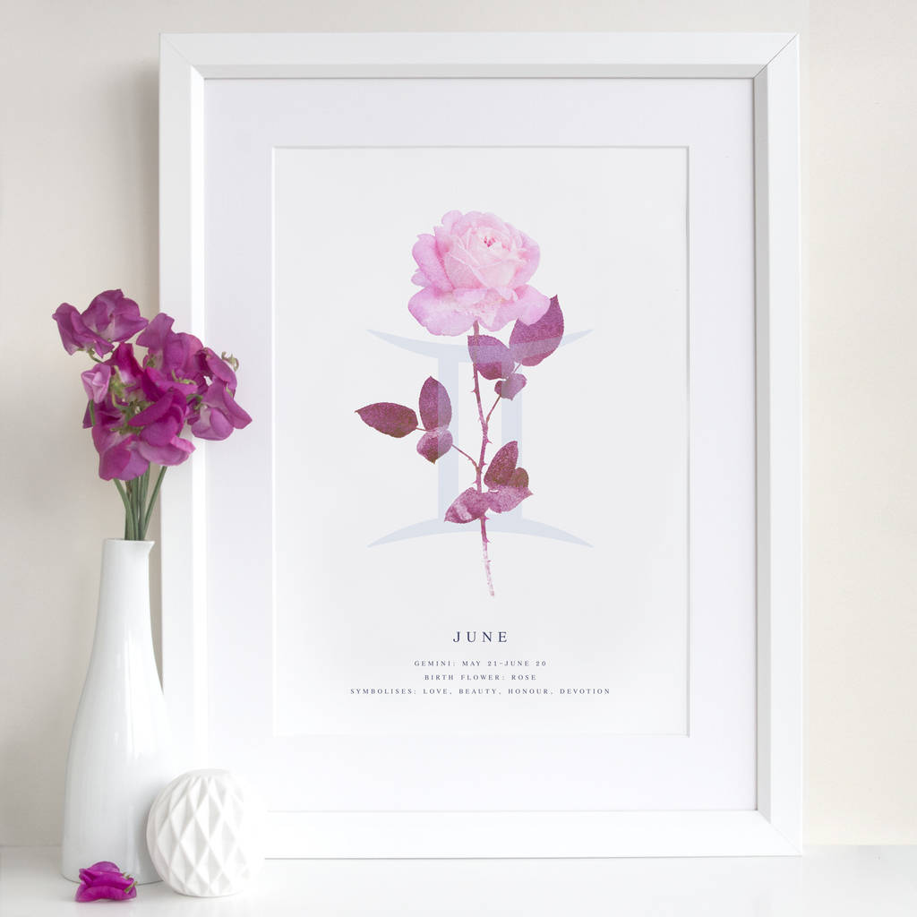 June Birth Flower Star Sign Personalised Print