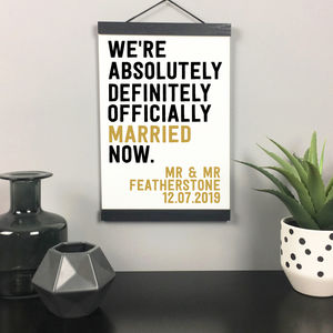 'We're Officially Married' Personalised Wedding Print