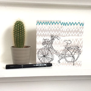 Grey Abstract Bike Greeting Card Square