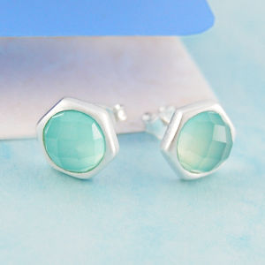Aqua Chalcedony Silver Hand Cut Gemstone Stud Earrings