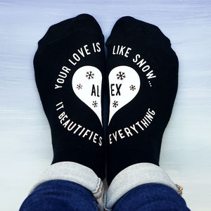 Personalised Your Love Is Like Snow Socks