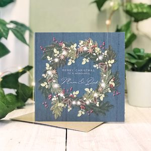 Mum And Dad Blue Country Christmas Botanical Card