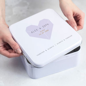 Personalised Origami Heart Tin Box