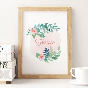 Personalised Name Watercolour Print - baby's room