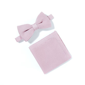 Wedding Knitted Bow Tie And Pocket Square Sets
