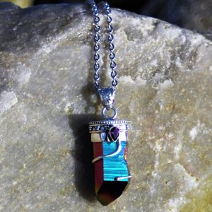 Amethyst And Titanium Aura Quartz Necklace