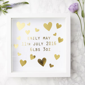 Personalised New Baby Framed Print - children's room
