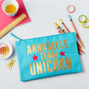 Girls Personalised Unicorn Large Pencil Case