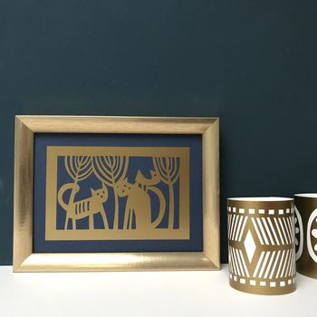 Cat Lover Framed Gold and Midnight Blue Artwork