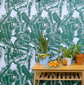 Tropical Screen Printed Wallpaper Calathea Leaf Print