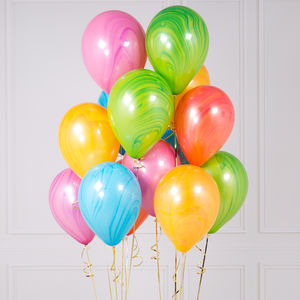 Pack Of 14 Marble Multi Coloured Party Balloons - room decorations