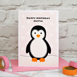'Penguin' Personalised Girls Birthday Card - birthday cards