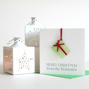 Personalised Christmas Decoration 'Present' Card - cards sent direct