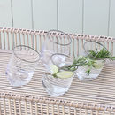Silver Trim Leaning Glass Tumblers Set Of Four