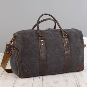 Canvas Leather Holdall Duffel Kit Bag - sale