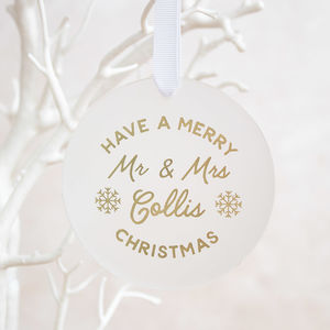 Merry Christmas Mr And Mrs Tree Decoration - christmas decorations