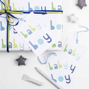 New Baby Boy Wrapping Paper Set