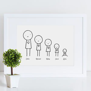 Personalised Cartoon Family Print - nursery pictures & prints