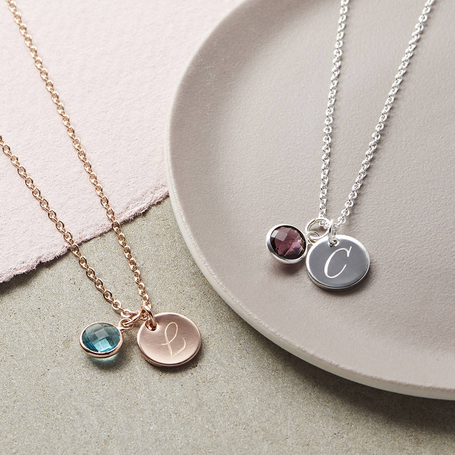 Personalised initial birthstone necklace by bloom boutique personalised initial birthstone necklace aloadofball Image collections