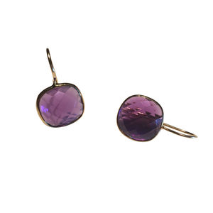 Amethyst Gold Square Earrings Gifts For Her
