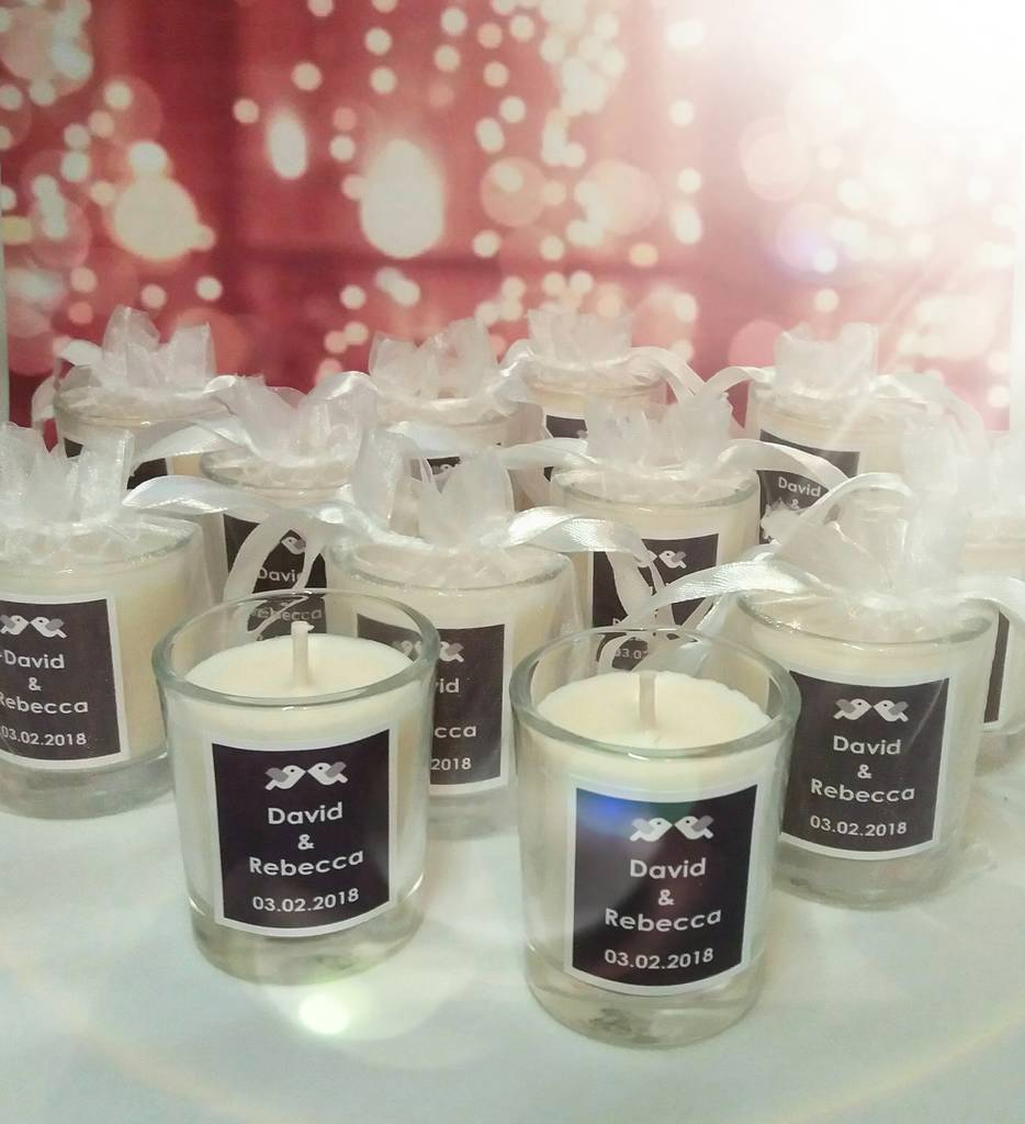 Wedding Gift Candles: Personalised Name Wedding Favour Candles By Kisses And