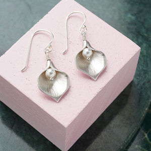 Calla Lily Earrings - 25th anniversary: silver