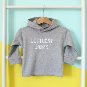 Littlest Family Member, Personalised Hoody - winter sale