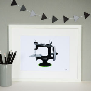 Singer Sewing Machine Collage Print - posters & prints