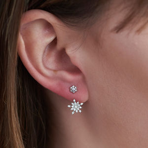 Snowflake Gold Two Way Earrings