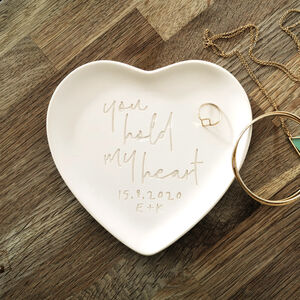 Engraved Pottery Message Heart Plate
