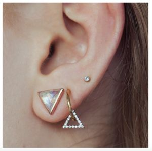 14k Gold Vermeil Diamond Triangle Hoops - earrings