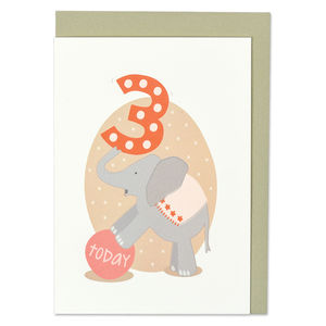 'Age Three' Elephant Card - birthday cards