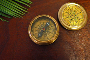 Gold Antique Vintage Brass Compass Paperweight