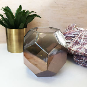 Geometric Copper Glass Prism Vase - tableware