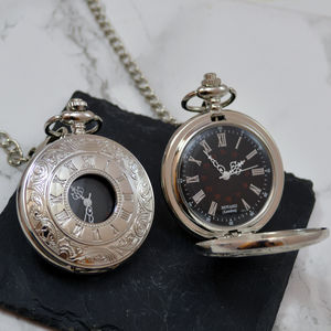 Engraved Pocket Watch Antique Swirl Design - personalised jewellery