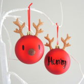 Personalised Glitter Reindeer Bauble - christmas decorations