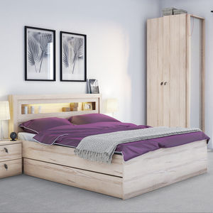 R And O Double Bed With Built In Lights In Beech Effect - furniture