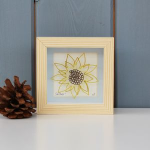 Framed Original 3D Wire 'Sunflower' Artwork - mixed media & collage