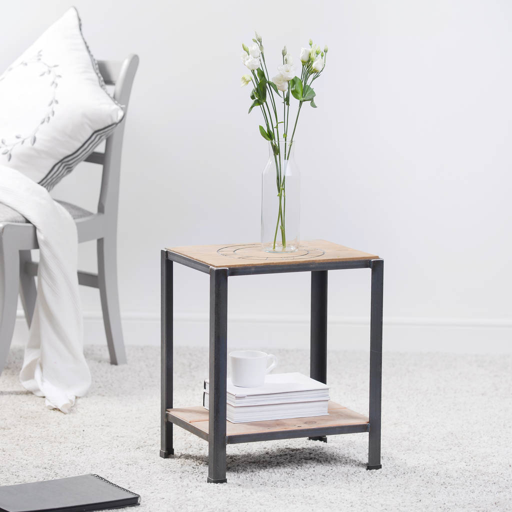 reclaimed wood and steel side table. reclaimed wood and steel side table by edgeinspired