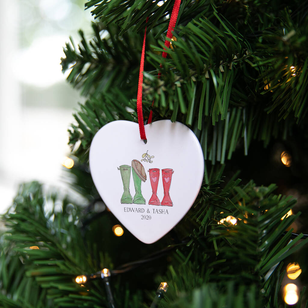 Personalised Couples First Christmas Welly Decorations By ...