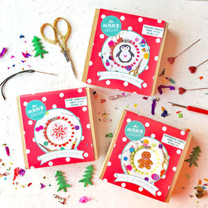 Trio Of Christmas Cross Stitch Kits - creative kits & experiences