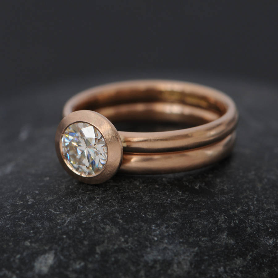 Rose Gold Moissanite Wedding Set
